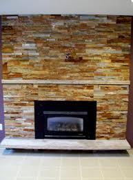 Multi Gold Ledger Stone Fireplace